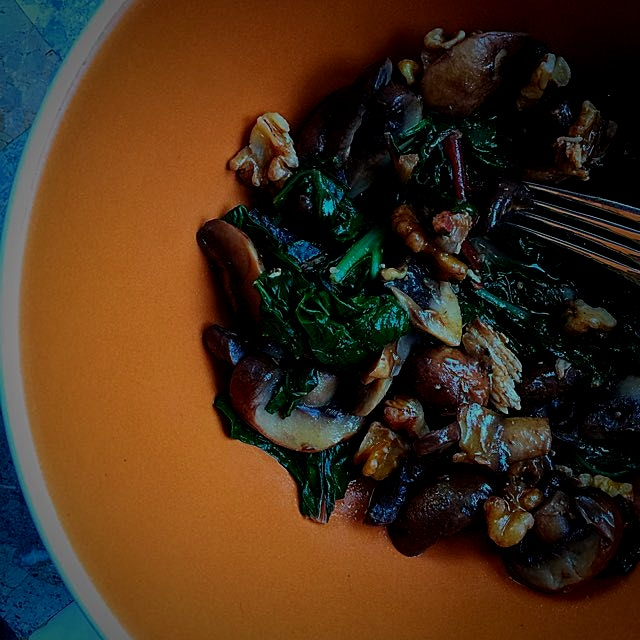 Delicious and tasty sautéed rainbow chard and portobello mushroom one-bowl lunch!