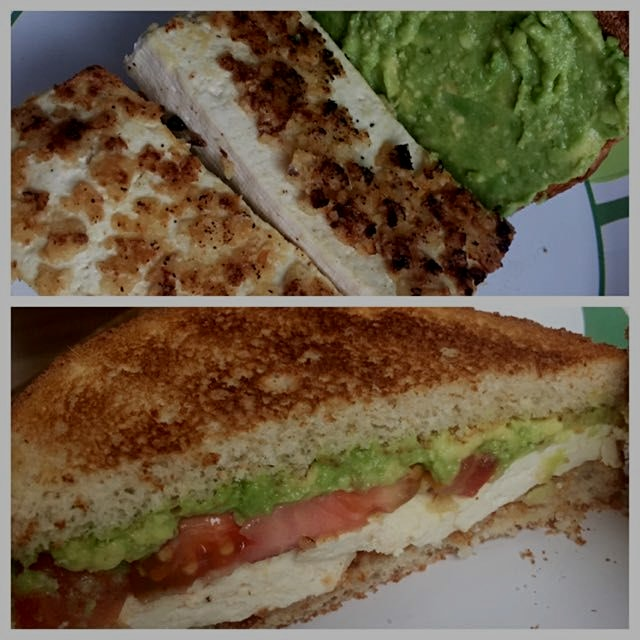 Happy Meatless Monday! Made a tasty tortilla chip crusted tofu sandwich that's vegetarian and veg...
