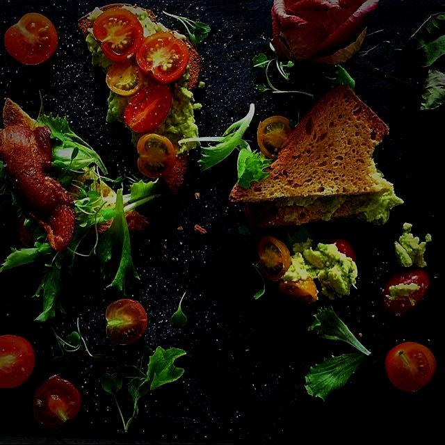 I made a gluten-free Bacon, Lettuce and Tomato Sandwich! Use mashed avocado with fresh lemon juic...