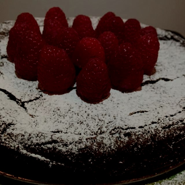 Flourless chocolate cake.