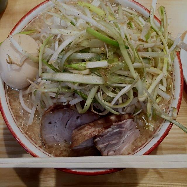 Tsujita LA Artisan Noodle Annex's Ramen with Original Negi = handmade flat curly noodles, pork, s...