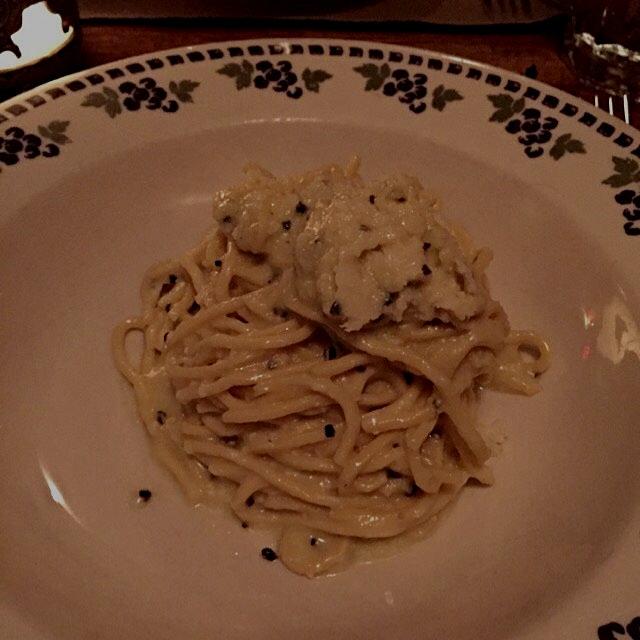 The Cacio e Pepe at Cacio e Pepe, finished table side in a wheel of cheese.  Quite a nice pasta t...