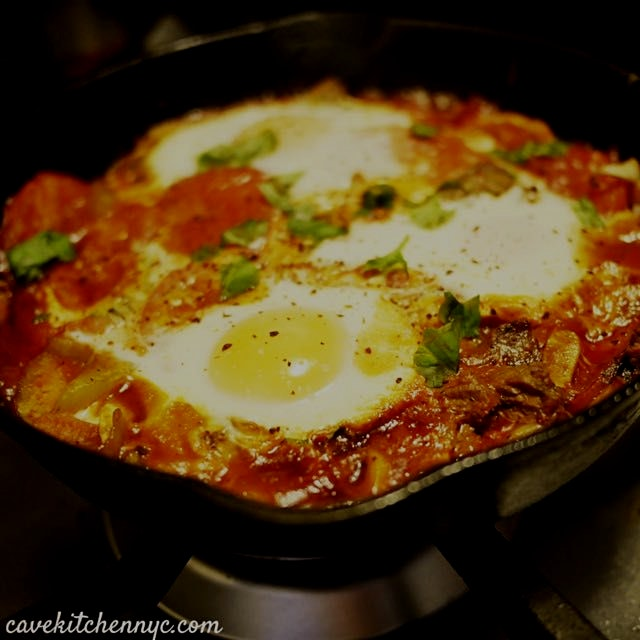 """The """"empty out your fridge"""" kind of #breakfast with farm eggs, leftover steak and sautéed ferment..."""