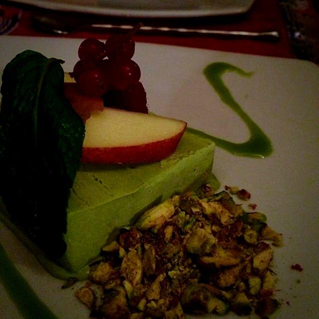 Green tea and pistachio parfait (not pictured; Tom Yum Crème Brûlée)