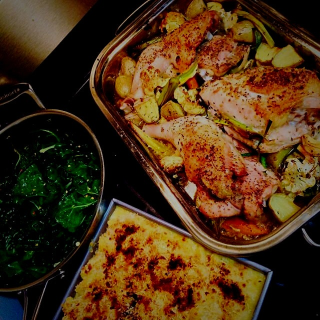 Roasted Chicken with Greenmarket Vegetables, Sauted Kale, and Slimmed-down Mac and Cheese #sunday...