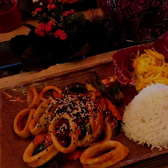 Spicy Korean calamari with rice, at Creasian Berlin