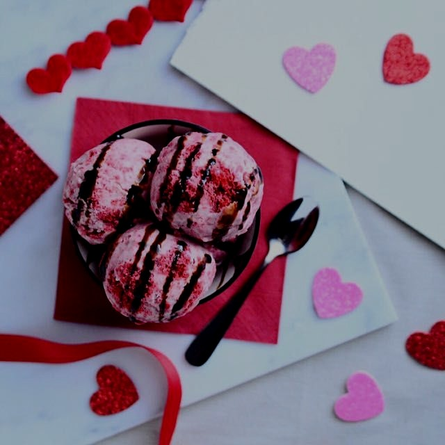 Red Velvet Cake Coconut Milk Ice Cream(gluten free & vegan) topped with Aged Balsamic.  Getting r...