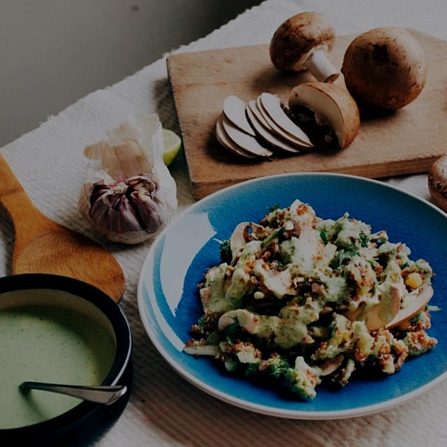 Quinoa and chestnut mushrooms