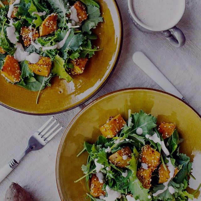 Baby kale and marinated sweet potatoes. {Recipe on my website}