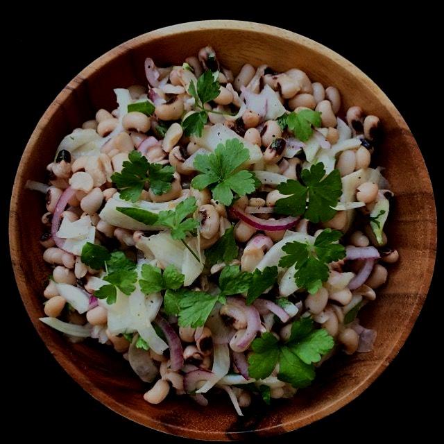 Black eyed peas and shaved fennel salad