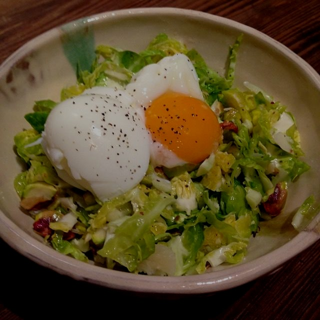 Raw brussels, pistachios, parm, and a soft boiled egg