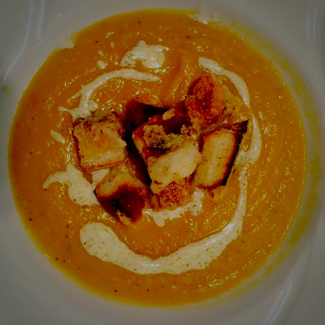 Butternut Squash Soup with Sage Crème Fraiche and Gruyere Croutons