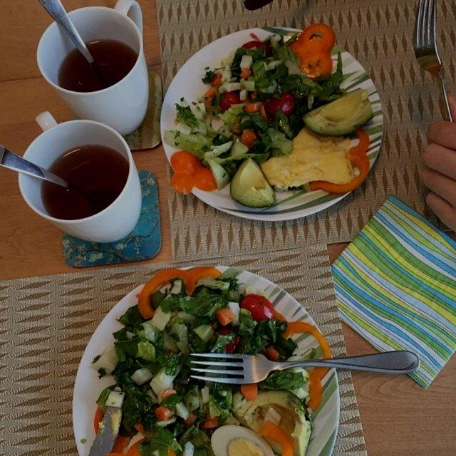 Typical Israeli breakfast: eggs and salad