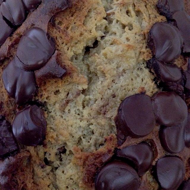 Sunday morning baking adventure -- banana bread w dark chocolate chips