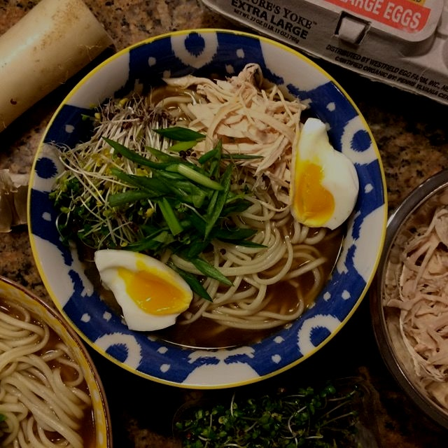 "Homemade 12-hour bone broth and ""ramen"" made from alkalinized (+baking soda to boiling water) dri..."