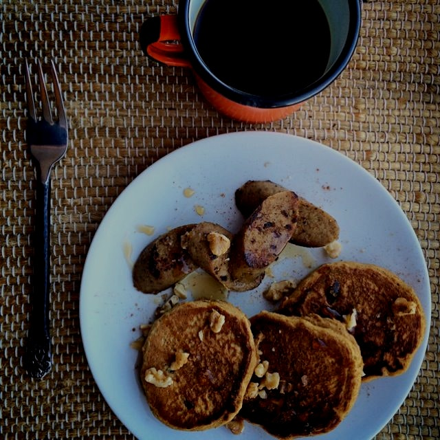 Pumpkin protein rum soaked raisin pancakes |  #fieldroast vegan apple sage snausages | Ugandan pe...