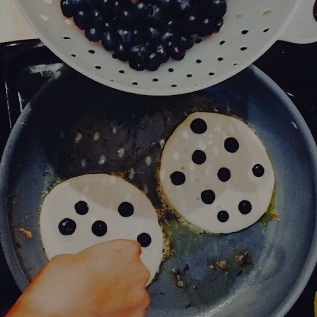 Blueberries ricotta cheese Pancakes this morning