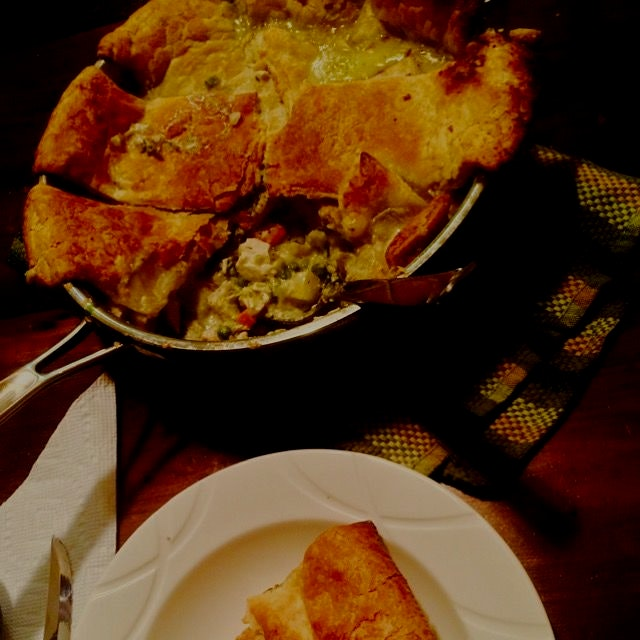 Chicken Pot Pie (my lightened-up, extra veg version) for dinner in snowy NYC last night.  Warmed ...