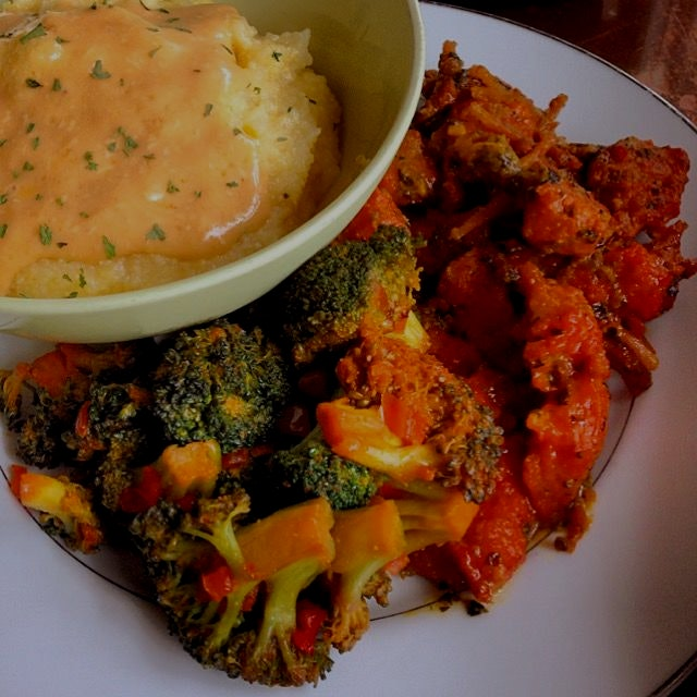 "vegan soul food from seasoned vegan. burdock root ""crawfish"" with broccoli and ""cheese"" grits"