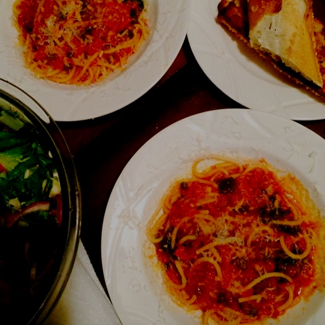 Pasta Night!!  Sauce was really tasty:  garlic, chilli peppers, capers, anchovies, can of San Mar...