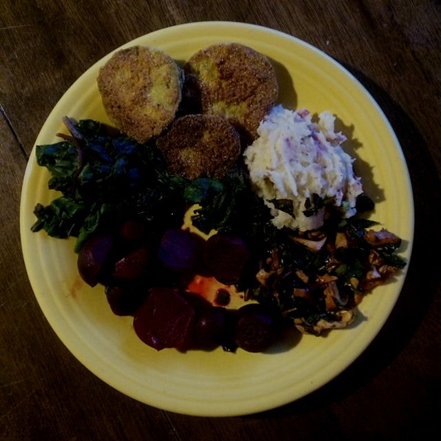 Everything homegrown featuring the first chanterelle mushrooms (#wildcradted) and fried green tom...