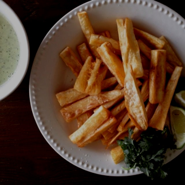 Yuca fries with mojo mayonnaise (from scratch).  Recipe courtesy of Aida Mollenkamp via Sand and ...