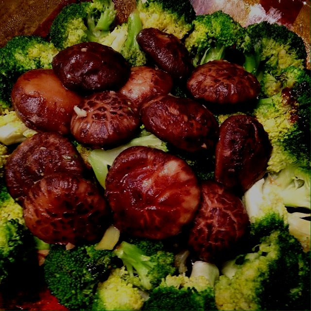 Broccoli and fresh shiitake.