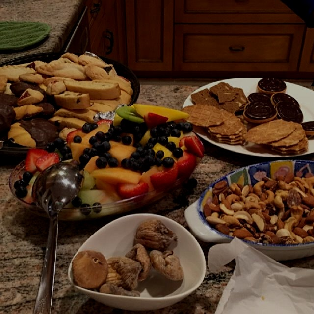 Fruit, cookies and more - dessert for friends movie night