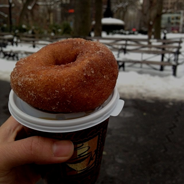 Farewelling winter - hopefully! - with comforting hot apple cider & an apple cider donut at New Y...