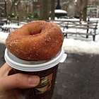 Farewelling winter - hopefully! - with comforting hot apple cider & an apple cider donut at New York's Union Square market