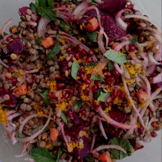 Recipe adapted from Saveur Magazine, lentil salad with beets and pomegranate.  Gorgeous, tangy, f...