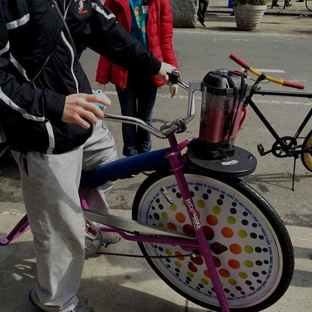 Bike powered smoothies in Union Square today.  Anyone else see this?  Had to do with promoting Na...