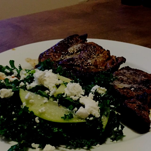 A Black and Blue ribeye steak With a feta cheese And kale Salad. Black and Blue is the only way t...
