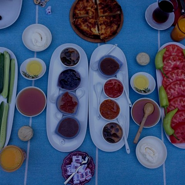 Picture perfect breakfast in Assos, Turkey. Homemade preserves and veggies from the garden.