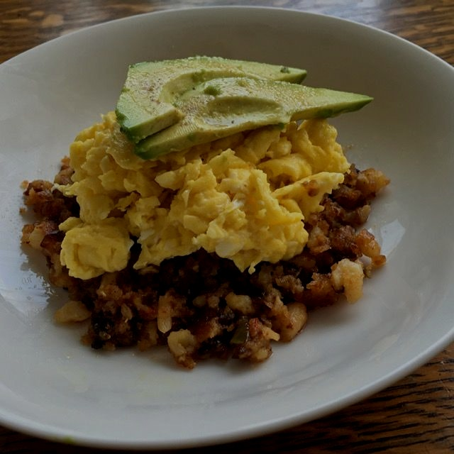 Breakfast from this morning: leftover hash browns with scrambled eggs and avocado