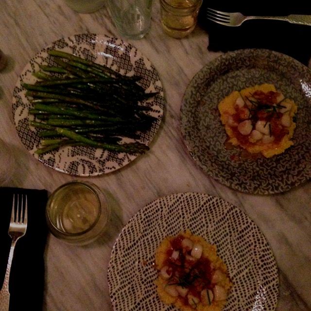 Baby bay scallops over polenta and asparagus