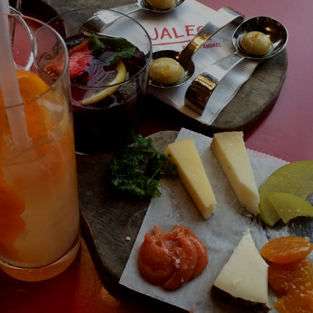 Cheese plate and liquid olives...delicious!