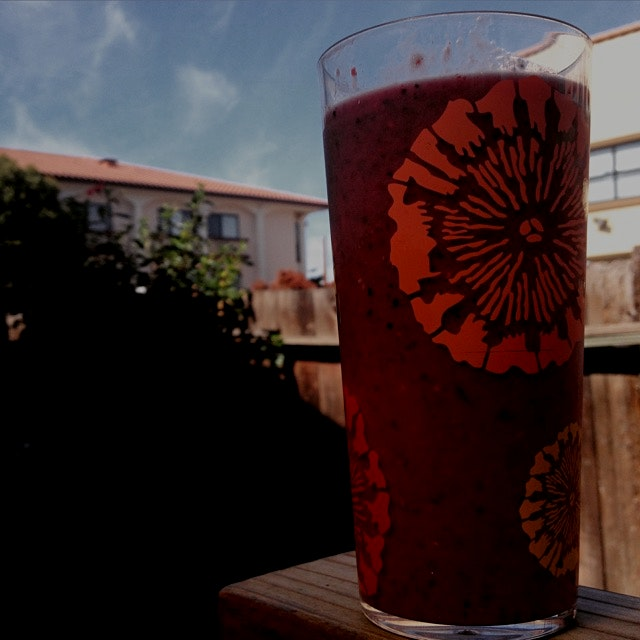 Sunshine and berry smoothie! So yum.