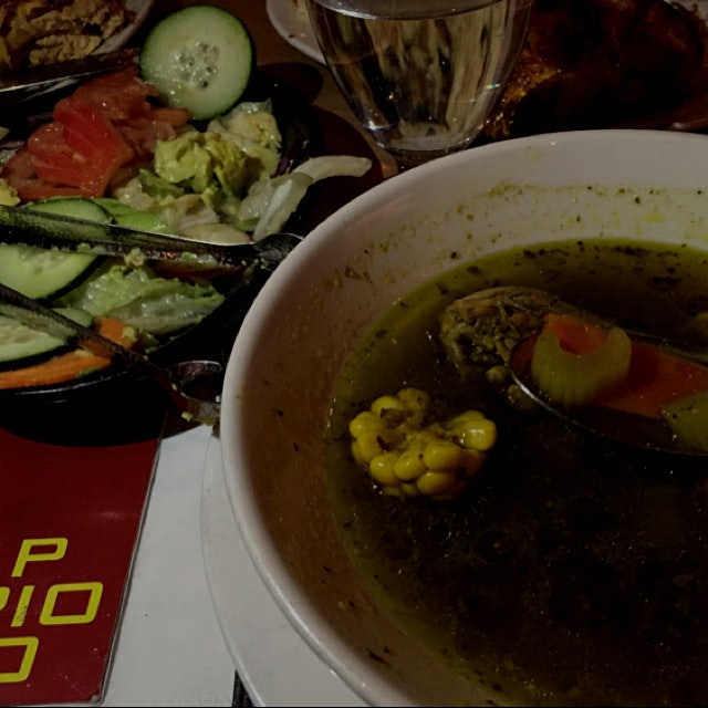 Peruvian chicken soup and salad at Pio
