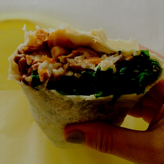 Fried chicken burrito at Wilma Jean. Addicted.