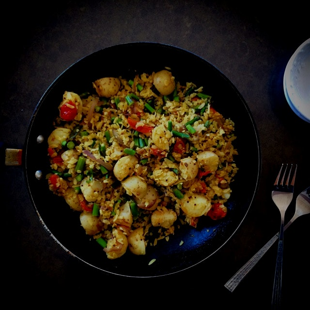 "Asparagus and baby potato ""poha"" (flattened rice). Vegan, gluten-free & nut-free."