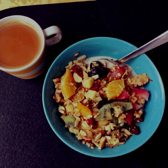 My amazing #fruit loaded breakfast bowl with hot cup of chai :)