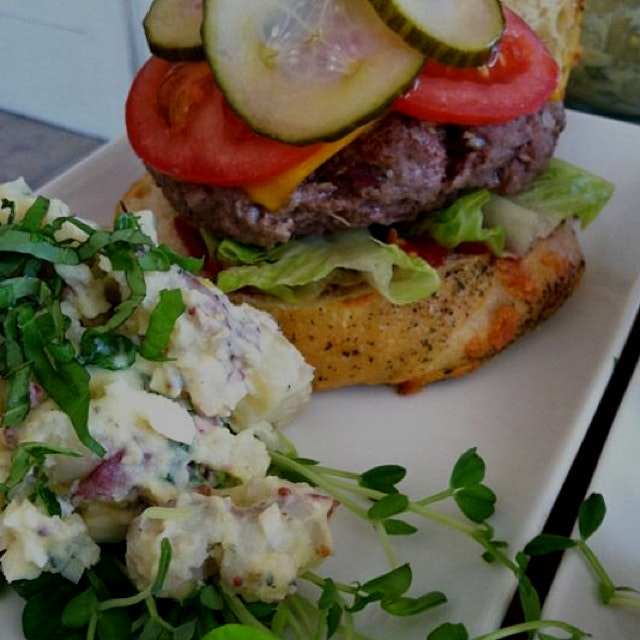 Burger with red skin potato salad ( no mayo included)
