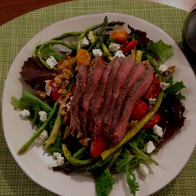 Steak salad with roasted veggies, walnuts, and goat cheese