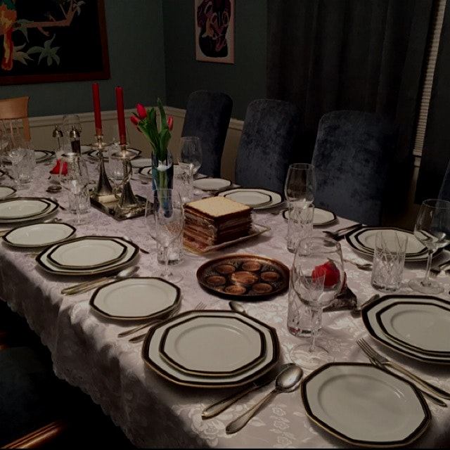 Passover table in preparation mode.  Happy Passover  Happy Easter Happy spring time