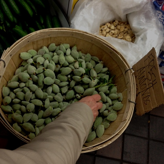 Fresh green almonds!