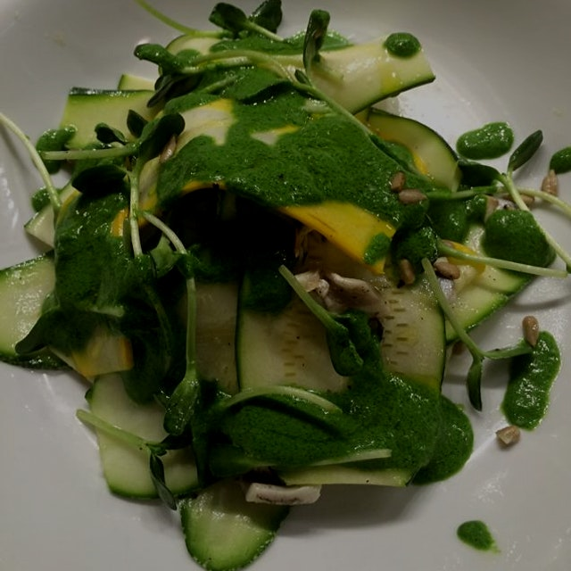 Squash salad with sunflower shoots and herb dressing at Contrada. #unionsquaremarket