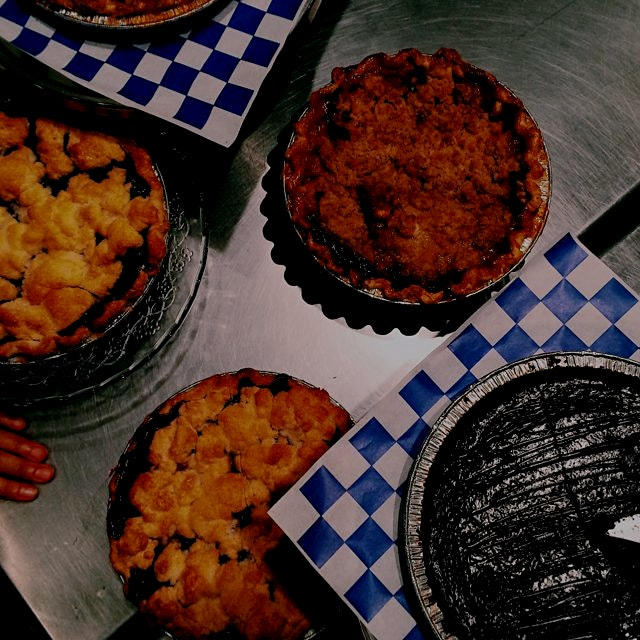 Pie tasting at pie corps #weddingeats - seasonal pies in greenpoint blueberry, apple, Chocolate c...