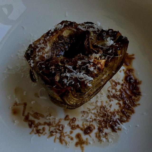 Roasted artichoke with balsamic vinegar and pecorino romano... Gah, I love spring!
