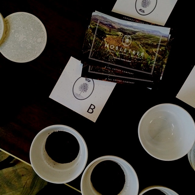 Coffee Cupping and tasting from the lovely folks at nobletree coffee. Delicious, from Brazil, and...